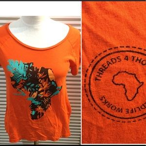 THREADS 4 THOUGHT orange szS T-shirt with Africa